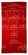 1873 Brewing Beer And Ale Patent Artwork - Red Beach Towel