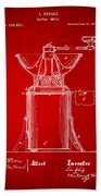 1873 Coffee Mills Patent Artwork Red Beach Towel