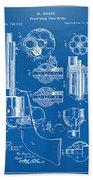 1875 Colt Peacemaker Revolver Patent Blueprint Beach Towel