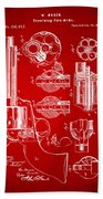 1875 Colt Peacemaker Revolver Patent Red Beach Towel
