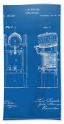 1876 Beer Keg Cooler Patent Artwork Blueprint Beach Towel