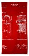 1876 Beer Keg Cooler Patent Artwork Red Beach Towel