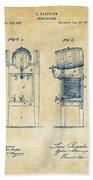 1876 Beer Keg Cooler Patent Artwork - Vintage Beach Towel