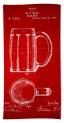 1876 Beer Mug Patent Artwork - Red Beach Towel
