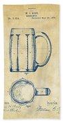1876 Beer Mug Patent Artwork - Vintage Beach Towel