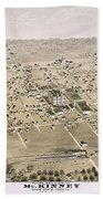 1876 Birds Eye Map Of Mckinney Texas Beach Towel