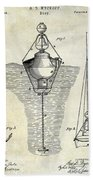1878 Buoy Patent Drawing Beach Towel