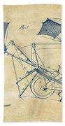 1879 Quinby Aerial Ship Patent Minimal - Vintage Beach Towel by Nikki Marie Smith