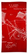 1879 Quinby Aerial Ship Patent - Red Beach Towel