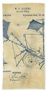 1879 Quinby Aerial Ship Patent - Vintage Beach Towel by Nikki Marie Smith