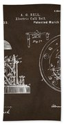 1881 Alexander Graham Bell Electric Call Bell Patent Espresso Beach Towel