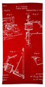 1881 Taylor Camera Obscura Patent Red Beach Towel