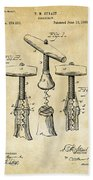 1883 Wine Corckscrew Patent Art - Vintage Black Beach Towel