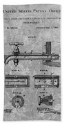 1885 Beer Tap Patent Charcoal Beach Towel
