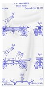 1885 Roller Skate Patent Blueprint Beach Towel
