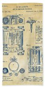 1889 First Computer Patent Vintage Beach Towel