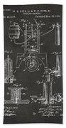 1890 Bottling Machine Patent Artwork Gray Beach Towel
