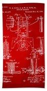 1890 Bottling Machine Patent Artwork Red Beach Towel