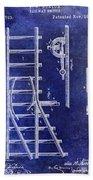 1890 Railway Switch Patent Drawing Blue Beach Towel