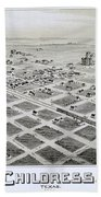 1890 Vintage Map Of Childress Texas Beach Towel