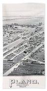 1890 Vintage Map Of Plano Texas Beach Towel