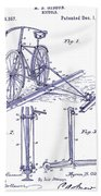 1891 Bicycle Patent Blueprint Beach Towel
