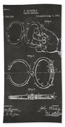 1891 Police Nippers Handcuffs Patent Artwork - Gray Beach Towel