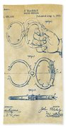 1891 Police Nippers Handcuffs Patent Artwork - Vintage Beach Towel