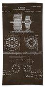 1891 Tesla Electro Magnetic Motor Patent Espresso Beach Towel