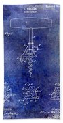 1900 Corkscrew Patent Drawing Blue Beach Towel