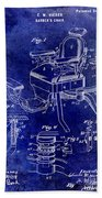 1901 Barber Chair Patent Drawing Blue Beach Towel