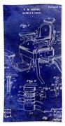1901 Barber Chair Patent Drawing Blue Beach Sheet