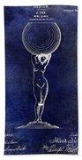 1901 Wine Glass Design Patent Blue Beach Towel