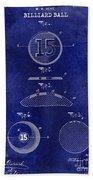 1902 Billiard Ball Patent Drawing Blue Beach Towel