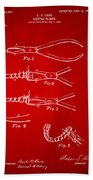 1903 Dental Pliers Patent Red Beach Towel