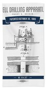 1906 Well Drilling Apparatus Patent Drawing - Retro Navy Blue Beach Towel