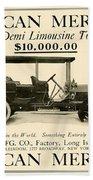 1907 - Daimler Manufacturing Company - American Mercedes Demi Limousine Automobile Advertisement Beach Towel