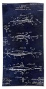 1907 Fishing Lure Patent Blue Beach Towel
