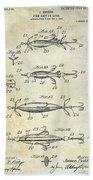 1907 Fishing Lure Patent Beach Towel