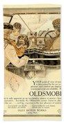1909 - Oldsmobile Advertisement - Color Beach Towel