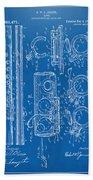 1909 Flute Patent - Blueprint Beach Towel