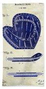 1910 Baseball Patent Drawing 2 Tone Beach Towel