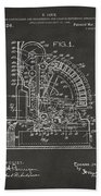 1910 Cash Register Patent Gray Beach Towel