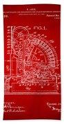 1910 Cash Register Patent Red Beach Towel