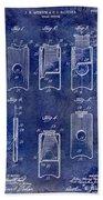 1910 Cigar Cutter Patent Drawing Blue Beach Towel
