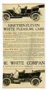 1911 - White Automobile Company Advertisement Beach Towel