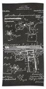 1911 Automatic Firearm Patent Artwork - Gray Beach Towel