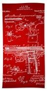 1911 Automatic Firearm Patent Artwork - Red Beach Towel
