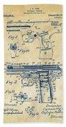 1911 Automatic Firearm Patent Artwork - Vintage Beach Towel by Nikki Marie Smith