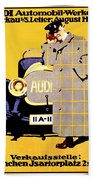 1912 - Audi Automobile Advertisement Poster - Ludwig Hohlwein - Color Beach Towel